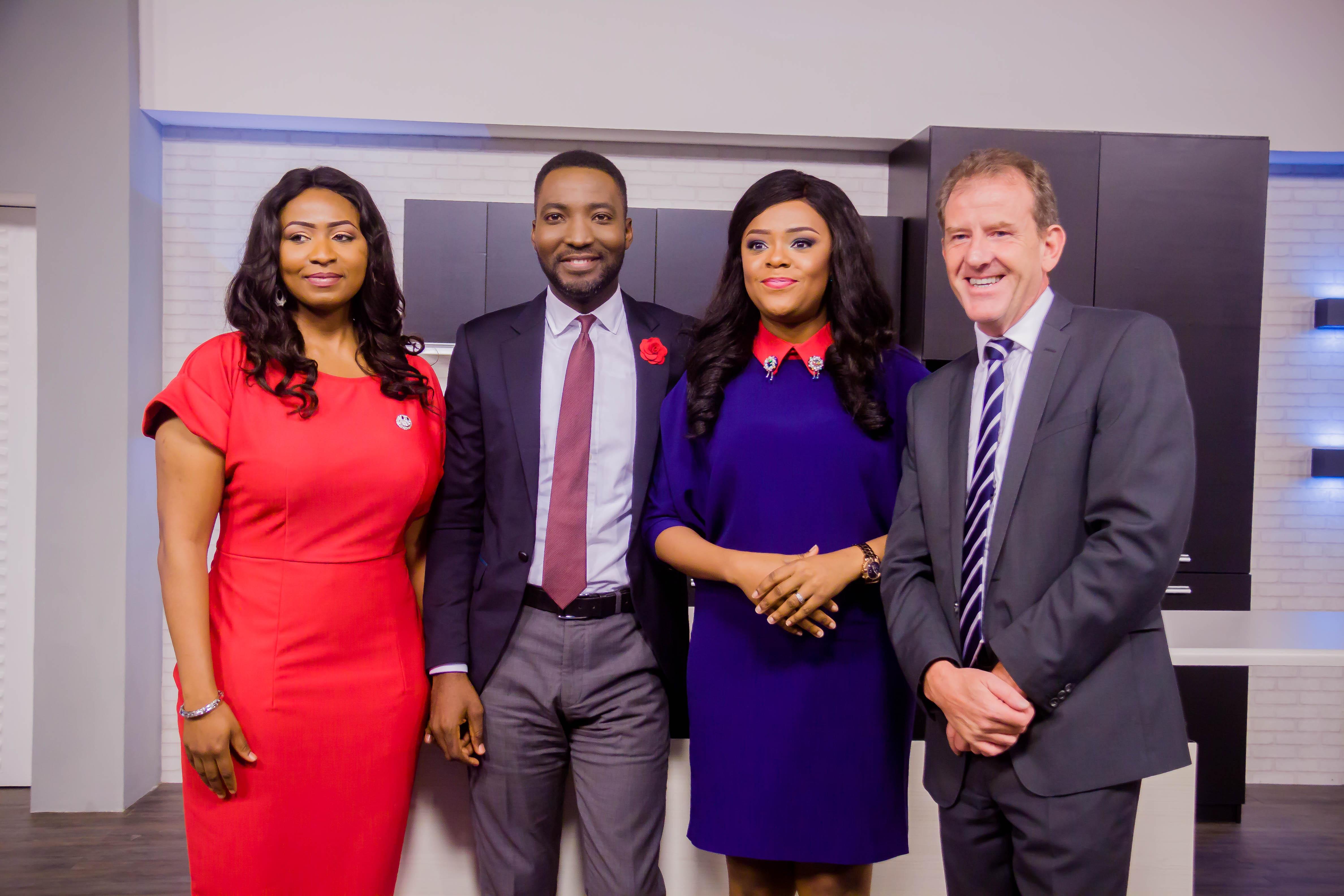 R-L: Andrew Hanlon (CEO, TVC); Titi Oyinsan & Yomi Owope (Presenters, WakeUpNigeria) and Morayo Afolabi-Brown (Deputy Director Programmes, TVC),