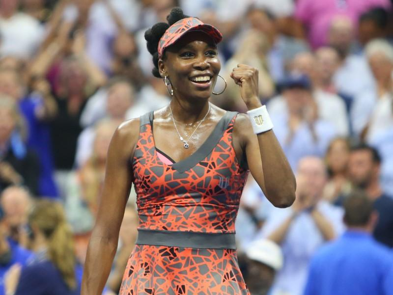 Sep 5, 2017; New York, NY, USA; Venus Williams of the United States celebrates after match point against Petra Kvitova of Czech Republic on day nine of the U.S. Open tennis tournament at USTA Billie Jean King National Tennis Center. Mandatory Credit: Jerry Lai-USA TODAY Sports