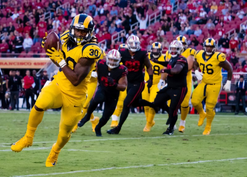 Sep 21, 2017; Santa Clara, CA, USA; Los Angeles Rams running back Todd Gurley (30) runs for a touchdown against the San Francisco 49ers during the first quarter at Levi's Stadium. Mandatory Credit: Kelley L Cox-USA TODAY Sports