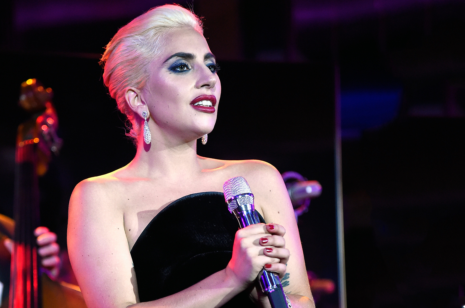 NEW YORK, NY - AUGUST 03: (EXCLUSIVE COVERAGE)  Lady Gaga performs during a celebration of music legend Tony Bennett's 90th birthday at The Rainbow Room on August 3, 2016 in New York City.  (Photo by Kevin Mazur/Getty Images for RPM)