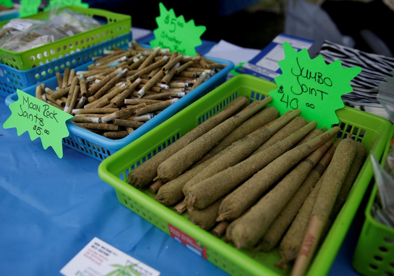 FILE PHOTO:   Various-sized joints for sale are pictured at the annual 4/20 marijuana event at Sunset Beach in Vancouver, British Columbia, Canada on April 20, 2017. REUTERS/Jason Redmond/File Photo