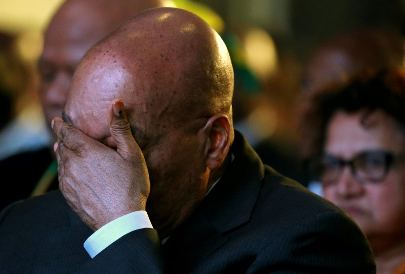 South Africa's President Jacob Zuma reacts during the official announcement of the munincipal election results at the result centre in Pretoria, South Africa, August 6, 2016. REUTERS/Siphiwe Sibeko