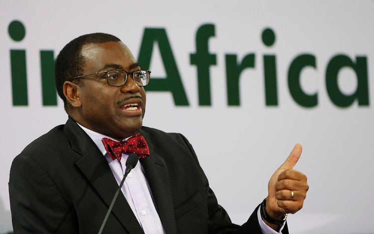 African Development Bank (AfDB) President Akinwumi Adesina gestures as he addresses a news conference on the first day of the annual meeting of AfDB in Gandhinagar, India, May 22, 2017. REUTERS/Amit Dave