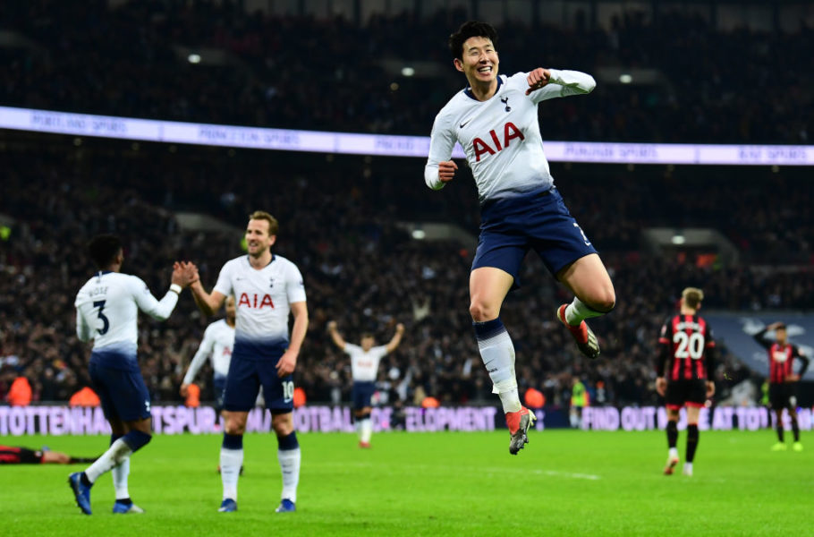 LONDON, ENGLAND - DECEMBER 26:  Heung-Min Son of Tottenham Hotspur celebrates after he scores his sides 5th goal during the Premier League match between Tottenham Hotspur and AFC Bournemouth at Tottenham Hotspur Stadium on December 26, 2018 in London, United Kingdom.  (Photo by Alex Broadway/Getty Images)