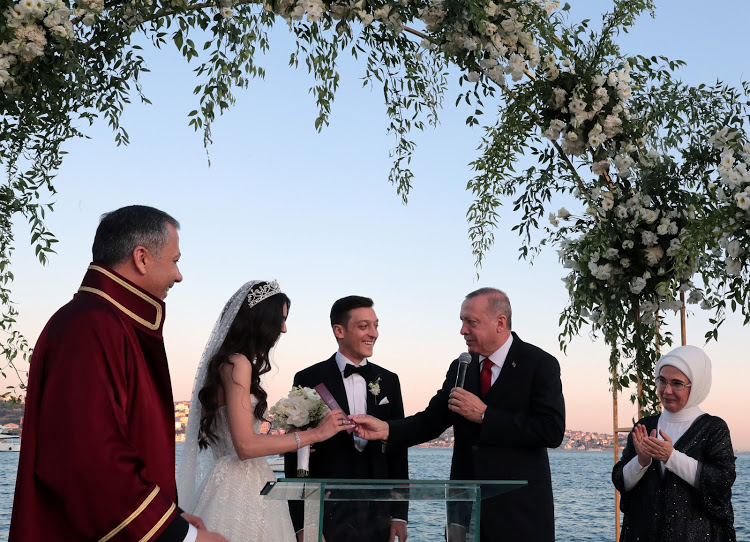 Turkish President TayyipErdogan attends wedding ceremony of Arsenal's German soccer player Mesut Ozil, who is of Turkish descent, and his fiancee Amina Gulsein Istanbul, Turkey, June 7, 2019. Murat Cetinmuhurdar/Presidential Press Office/Handout via REUTERS ATTENTION EDITORS - THIS PICTURE WAS PROVIDED BY A THIRD PARTY. NO RESALES. NO ARCHIVE