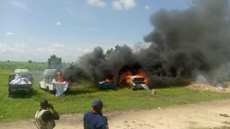Army burns down four trucks of fish allegedly owned by Boko Haram