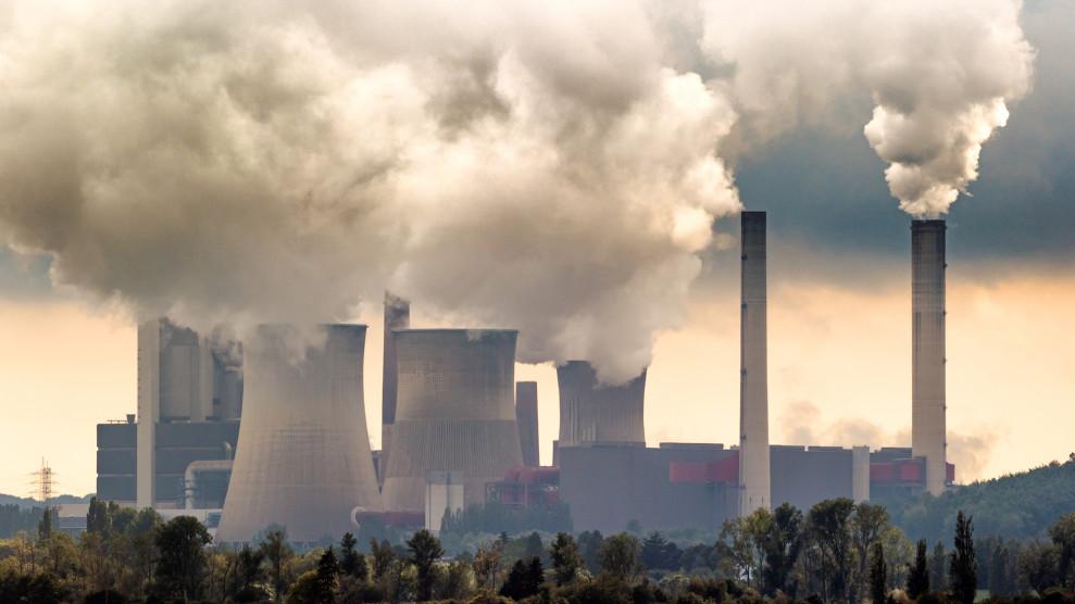 Brown coal power plant emission.
