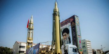 A display featuring missiles and a portrait of Iran's Supreme Leader Ayatollah Ali Khamenei is seen at Baharestan Square in Tehran, Iran September 27, 2017. Picture taken September 27, 2017. Nazanin Tabatabaee Yazdi/TIMA via REUTERS ATTENTION EDITORS - THIS IMAGE WAS PROVIDED BY A THIRD PARTY. - RC11BFED01E0