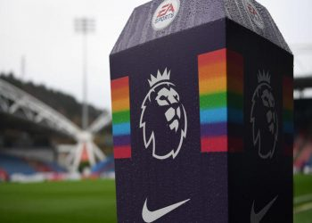 HUDDERSFIELD, ENGLAND - DECEMBER 01:  The Premier League logo is seen along side the 'This is Everyone's Game' campaign branding prior to the Premier League match between Huddersfield Town and Brighton & Hove Albion at John Smith's Stadium on December 1, 2018 in Huddersfield, United Kingdom.  (Photo by Gareth Copley/Getty Images)
