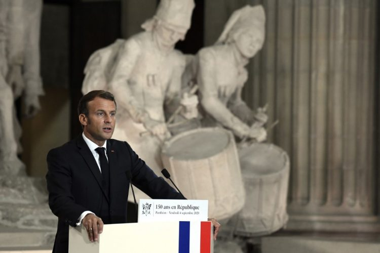 French President Emmanuel Macron delivers a speech during a ceremony to celebrate the 150th anniversary of the proclamation of the French Third Republic at the Pantheon, in Paris on September 4, 2020. (Photo by Julien DE ROSA / POOL / AFP)