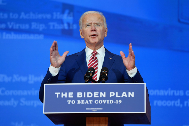Democratic presidential nominee and former Vice President Joe Biden delivers remarks on Covid-19 at The Queen theater on October 23, 2020 in Wilmington, Delaware. (Photo by Angela Weiss / AFP) (Photo by ANGELA WEISS/AFP via Getty Images)