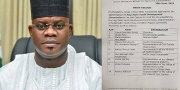 Governor of Kogi State Yahaya Bello has granted approval for the Constitiution of Kogi State Youth Development Commission.