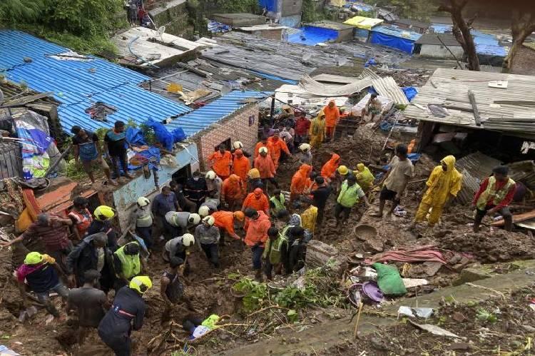 heavy rain triggers landslides in Mumbai, India