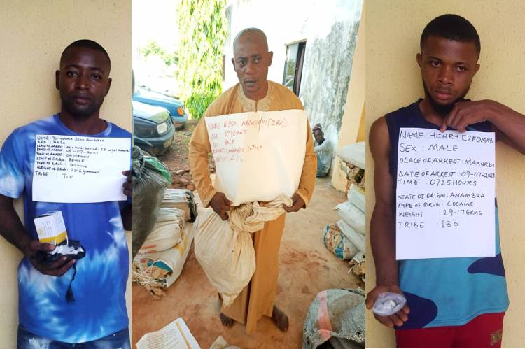 Latest News from NDLEA is that it arrests seven drug kingpins, recovers 843kg skunk, cocaine in three states
