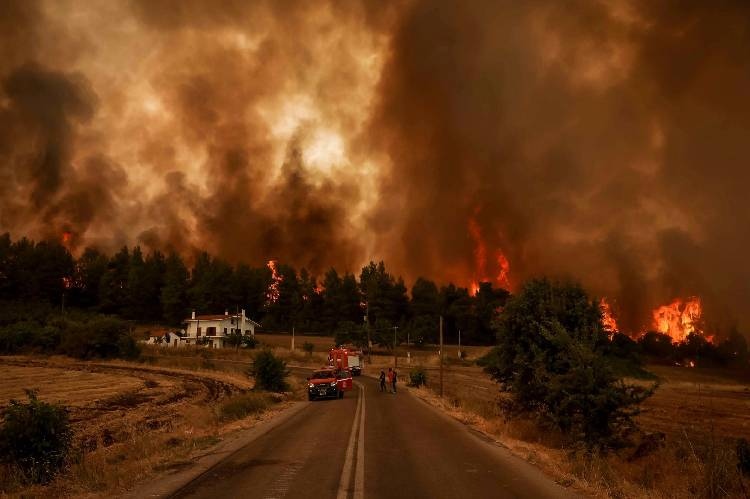 Wildfires continue to ravage Greek island of Evia