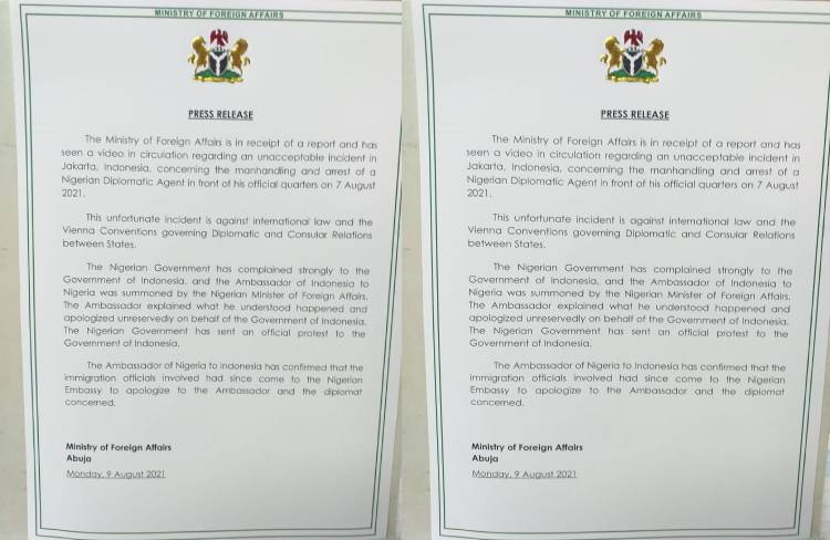 Latest Breaking News about Ministry of Foreign Affairs: Indonesia apologiases to Nigeria over manhandling of Nigerian Diplomat in Jakarta
