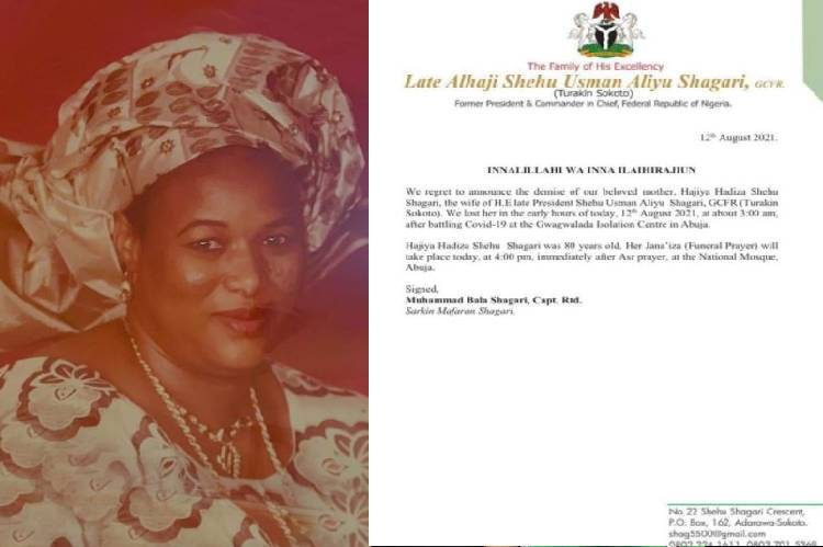 COVID-19: Wife of late fmr President Shehu Shagari, Hadiza dead from complications