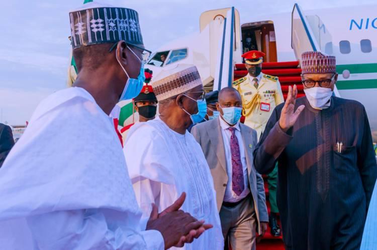 Latest Breaking News about Muhammadu Buhari: President Muhammadu Buhari returns to Abuja after UK Trip
