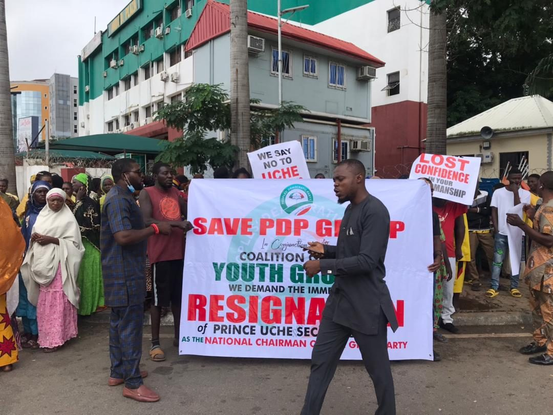 PDP Youths protest, insist Uche Secondus must resign as chairman