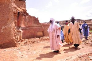Latest news about Governor Bello's visit to the Emir of Zazzau, Alh. Ahmad Nuhu Bamali at his palace in zaria.