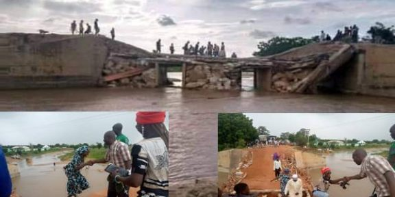 Latest news in Nigeria today is that Flood cuts off Adamawa/Borno bridge, paralyses economic activities