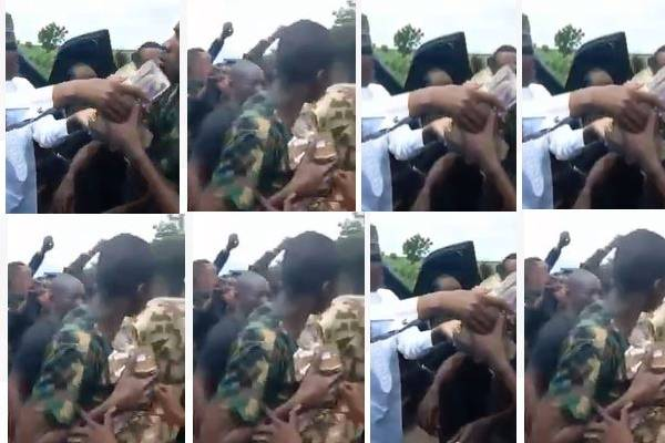 Video: Zamfara Governor doles out cash to soldiers fighting bandits