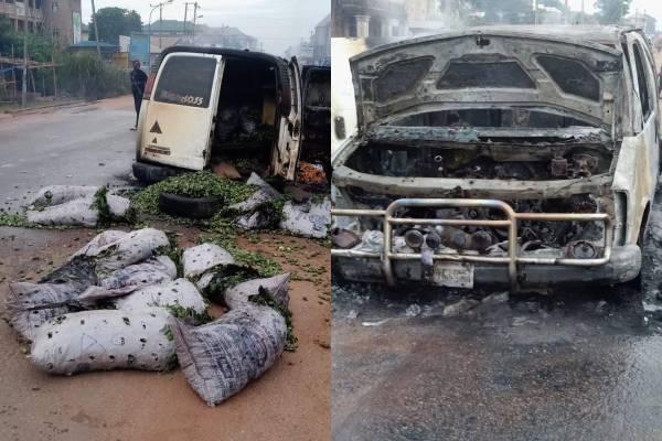 Latest Breaking News About Enugu State: Vehicle carrying Vegetables set ablaze in Enugu