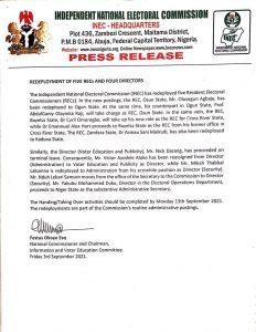 INEC redeploys five RECs, four Directors