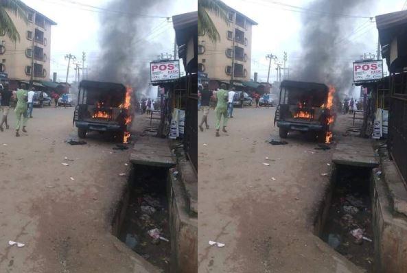 Gunmen shot dead three police officer, set patrol vehicle ablaze in Onitsha