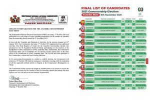 INEC releases update on preparations for Anambra governorship elections