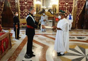 Nigeria's Ambassador to Spain Demola Seriki presents his letter of credence to King Felipe VI in Madrid
